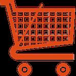 Carrinho de supermercado representando as compras ou aquisições de um projeto