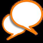 Balões de conversa representando as comunicações do projeto