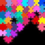 Quebra cabeças colorido representando a integração entre as diferentes partes de um projeto