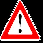 Triângulo vermelho representando os riscos do projeto
